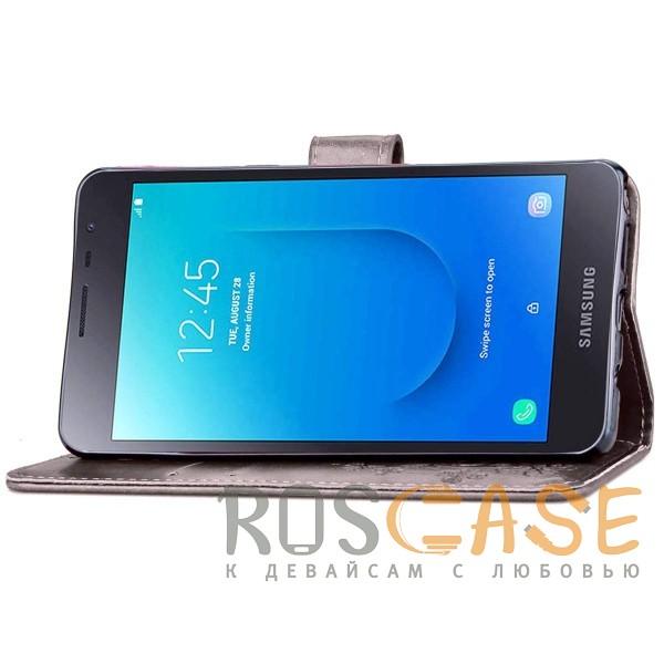 Фото Серый Чехол-книжка с узорами на магнитной застёжке для Samsung Galaxy J2 Core (2018)