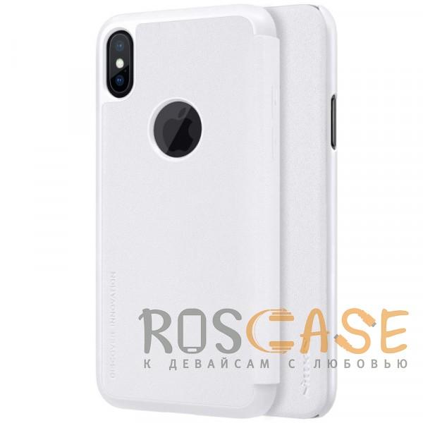 "Фото Белый Nillkin Sparkle   Чехол-книжка с вырезом под логотип для Apple iPhoneX(5.8"")/XS(5.8"")"