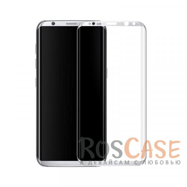 Фото Серебряный Защитное стекло 3D с цветной рамкой на весь экран для Samsung G950 Galaxy S8