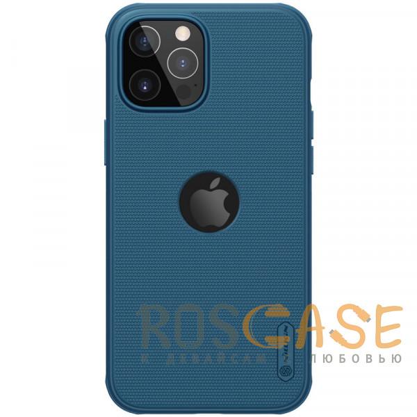 Фото Синий Nillkin Super Frosted Shield Pro   Матовый пластиковый чехол для iPhone 12 / 12 Pro с отверстием под лого