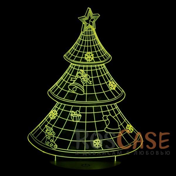 """Фотография Ёлка НГ Светодиодный 3D светильник-ночник с проекцией объемного изображения """"Новогодняя ёлка"""""""