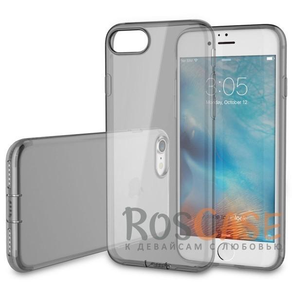 Прозрачный ультратонкий силиконовый чехол для Apple iPhone 7 / 8 (4.7) (Черный / Transparent black с заглушкой)Описание:производитель  -  Rock;совместим с Apple iPhone 7 / 8 (4.7);материал  -  термополиуретан;тип  -  накладка.&amp;nbsp;Особенности:ультратонкая;прозрачная;не скользит;разъемы учитывают все функции;легко устанавливается;легко очищается;защищает от царапин и ударов.<br><br>Тип: Чехол<br>Бренд: ROCK<br>Материал: TPU