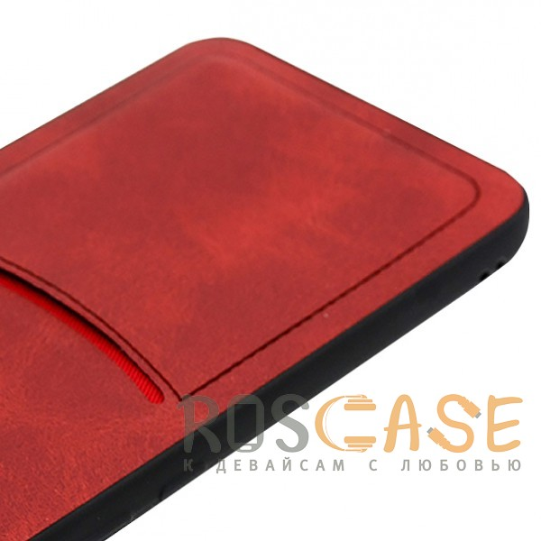 Фотография Красный ILEVEL | Чехол с кожаным покрытием и с карманом-визитницей для Huawei P Smart+ (nova 3i)