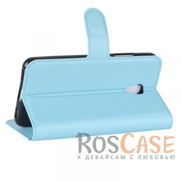 Изображение Голубой Гладкий кожаный чехол-бумажник на магнитной застежке с функцией подставки и внутренними карманами для Meizu M5c