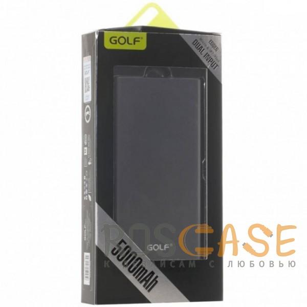 Фотография Черный GOLF EDGE5 | Тонкое портативное зарядное устройство Power Bank (5000 mAh) в металлическом корпусе