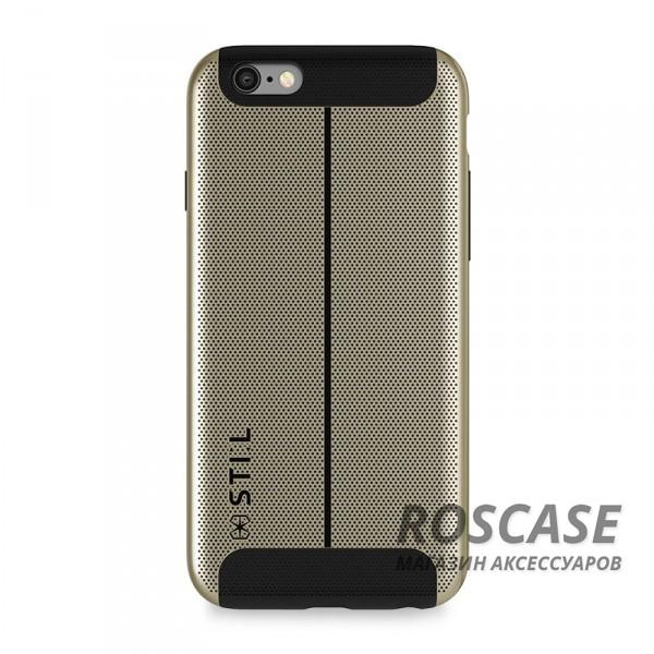 Накладка STIL Chivarly Series с алюминиевой вставкой для Apple iPhone 6/6s (4.7) (Золотой)Описание:создан компанией&amp;nbsp;STIL;разработан с учетом особенностей&amp;nbsp;Apple iPhone 6/6s (4.7);материалы - алюминий, термополиуретан;тип - накладка.Особенности:перфорированная поверхность;доступ ко всем функциям гаджета благодаря точным вырезам;защита от царапин и ударов;защита экрана благодаря выступающим бортикам;размеры - 143*72*10 мм, 42&amp;nbsp;гр.<br><br>Тип: Чехол<br>Бренд: Stil<br>Материал: Металл