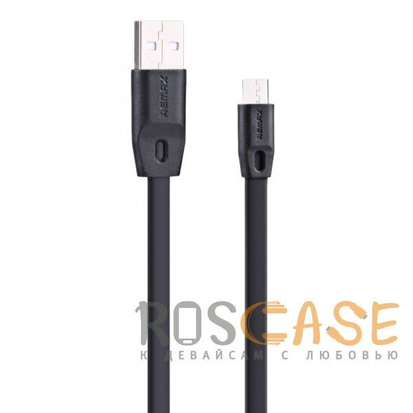 Remax RC-001m   Плоский дата кабель с разъемом microUSB (1 метр) (Черный)Описание:тип - ката-кабель;назначение - синхронизация и пополнение заряда батареи;разъемы&amp;nbsp; -  USB,&amp;nbsp; microUSB.длина - 100 сантиметров;проский провод;ток  -  2.1 А;&amp;nbsp;совместим с&amp;nbsp;&amp;nbsp;устройствами с разъемом microUSB.<br><br>Тип: USB кабель/адаптер<br>Бренд: Remax
