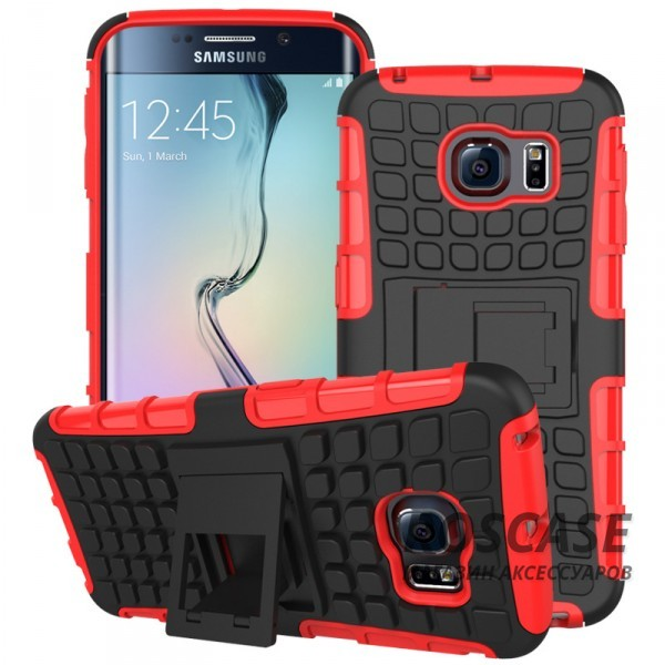 Противоударный двухслойный чехол Shield для Samsung G925F Galaxy S6 Edge с подставкой (Красный)Описание:разработан специально для Samsung G925F Galaxy S6 Edge;материалы: поликарбонат, термополиуретан;тип: накладка.&amp;nbsp;Особенности:двухслойный;ударопрочный;оригинальный дизайн;стильный дизайн;в наличии все функциональные вырезы;функция подставки.<br><br>Тип: Чехол<br>Бренд: Epik<br>Материал: TPU