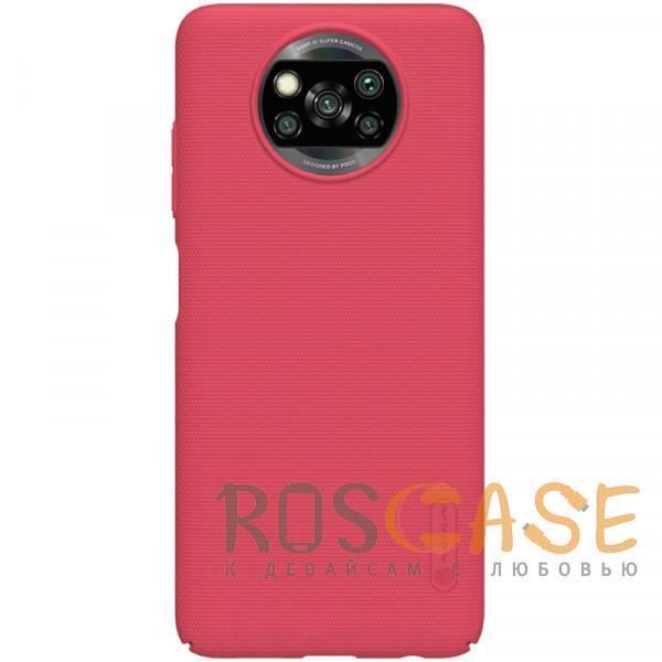 Фото Красный Nillkin Super Frosted Shield   Матовый пластиковый чехол для Xiaomi Poco X3 (NFC) Pro