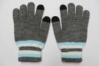 Epik Емкостные перчатки утепленные под кашемир (Серый с голубой полосой)