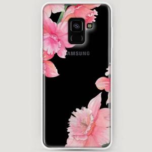 RosCase | Силиконовый чехол Розовые цветочные уголки на Samsung A530 Galaxy A8 (2018)