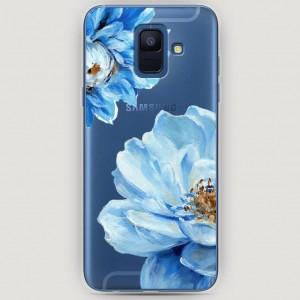 RosCase | Силиконовый чехол Голубые клематисы на Samsung Galaxy A6 (2018)
