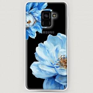 RosCase | Силиконовый чехол Голубые клематисы на Samsung A530 Galaxy A8 (2018)