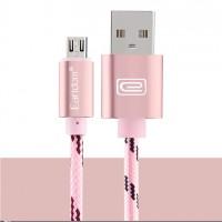 Epik Дата кабель microUSB плетеный Earldom (1m) с клипсой (Розовый / Rose Gold)