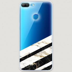 RosCase | Силиконовый чехол Черно-белый мрамор половинка на Huawei Honor 9 Lite