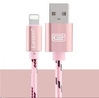 Epik Дата кабель lightning для iPhone 5/5s/SE/6/6 Plus/6s/6s Plus /7/7Plus плетеный Earldom 1m с клипсой (Розовый / Rose Gold)