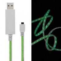 Дата кабель (светящийся бегущий) Navsailor MicroUSB (C-L301) (Белый / Зеленый)