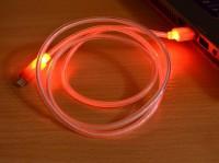 Дата кабель (светящийся треугольник) Navsailor MicroUSB (C-L501) (Красный)