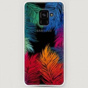 RosCase | Силиконовый чехол Рамка из перьев на Samsung A530 Galaxy A8 (2018)