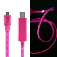Дата кабель (светящийся бегущий) Navsailor MicroUSB (C-L301) (Розовый / Синий)