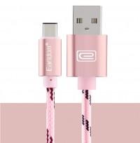 Epik Дата кабель Type-C плетеный Earldom (1m) с клипсой (Розовый / Rose Gold)