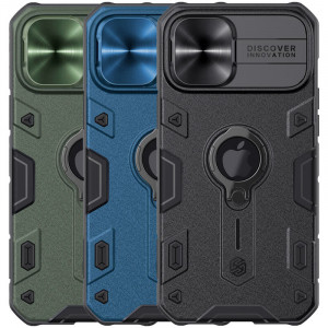 Nillkin CamShield Armor | Противоударный чехол с защитой камеры и кольцом для iPhone 12 Pro Max с отверстием под лого