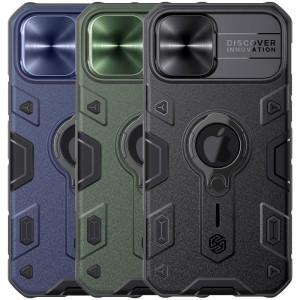 Nillkin CamShield Armor | Противоударный чехол с защитой камеры и кольцом для iPhone 12 / 12 Pro с отверстием под лого