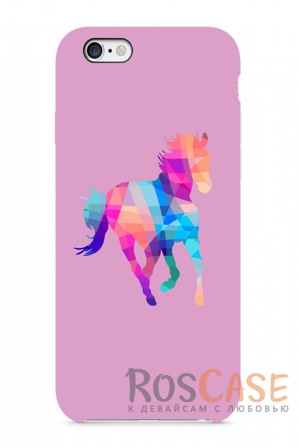 """Фото Разноцветная Лошадка Пластиковый чехол RosCase """"Лошади"""" для iPhone 6/6s (4.7"""")"""