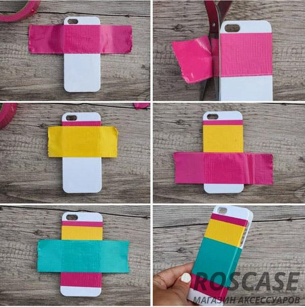обклейте накладку для телефона разноцветным скотчем