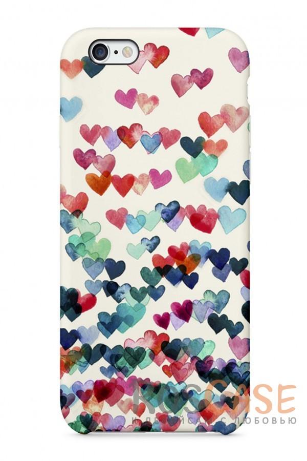 """Фото Цветные сердечки Пластиковый чехол RosCase """"Чувства"""" для iPhone 6/6s (4.7"""")"""
